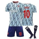 Voetbalshirts AFC Ajax 20/21 Thuis/Away Game No.10 Dusan Tadic Jersey Sokken En Shorts Set Voetbal Jersey, voor Kinderen Volwassen,3,16