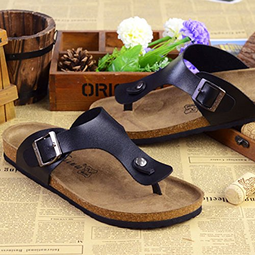 Unisex Adulto Sandali Eleganti - Ciabatte Donna - Pantofole Infradito Uomo Nero