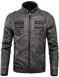 NBNNB Herren Retro Style PU Leder Motorrad Biker Jacke Stehkragen mit  Schultergurt 3520388bab