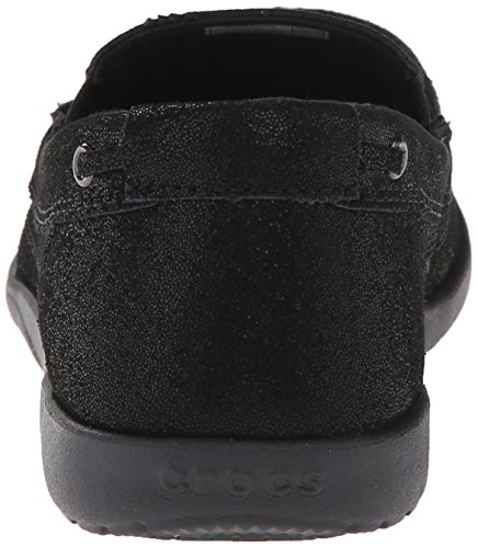 Crocs Walu Shimmer Leather Loafer Black/black