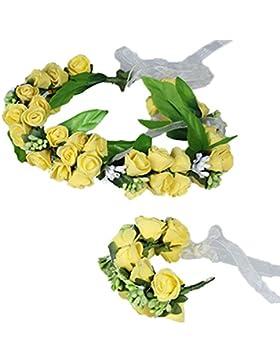 YAZILIND Floral Guirnalda de Encaje Elegante Diadema de Flores Pulsera Garland para Bodas Festivales de Turismo