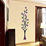 Life Stickers Vase Purple flowers Black floral Wall Sticker5026 (Wall Covering Area : 140 cm x 40 cm)