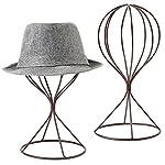 MyGift Modern Metal Hat Stands, Tabletop Decorative Wig Holders, Set of 2