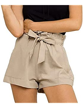 JackenLOVE Donne Pantaloncini Estivo Casual Shorts con Bende Hot Pants Moda Tinta Unita Pantaloni a Vita Alta