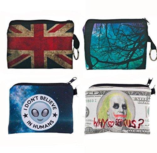 Geldbörsen, Rcool Mädchen aus Polyester Handtasche Clutch Reißverschluss Null Brieftasche Telefon Schlüsseltaschen drucken (Blau) Blau