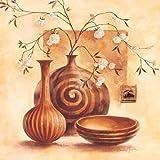 Fertig-Bild - Claudia Ancilotti: Sinalunga 70 x 70 cm modernes Stillleben in braun beige mit Vasen Zweigen Blüten