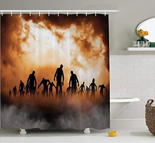 rations Shower Curtain Set, Zombies Dead Men Body Walking in The Doom Mist at Dark Night Sky Haunted Decor, Bathroom Accessories, 60x72 inches, Orange Black ()