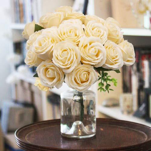 Fiori artificiali, specool rose finte 25 pezzi aspetto reale 5 strati di fiori finti grandi rose color champagne con stelo regolabile decorazioni per diy matrimoni mazzi nuziale festa casa stanza