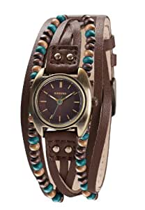 Kahuna Women's Quartz Watch with Brown Dial Analogue Display and Brown Leather Strap KLS-0204L