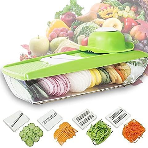 5-in-1 Mandoline Vegetable Slicer, Julienne Cutter, Potato Chopper, Cheese Grater, Kitchen Slicing Tool with 5 Interchangeable Stainless Steel Blades and Food Storage