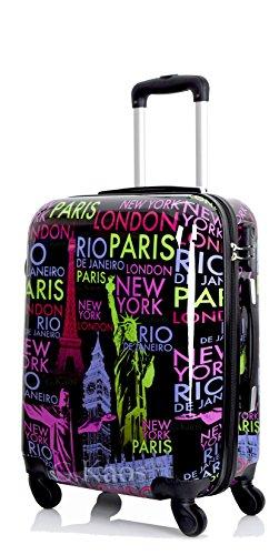 G.kaos - trolley da cabina 55cm - valigia rigida 4 ruote in abs policarbonato - bagaglio a mano compatibile per voli come easyjet e c. - fantasia capitali nero (capitals-blk 55cm)