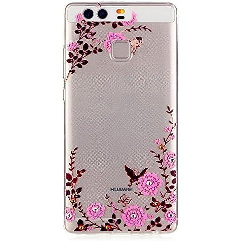 TKSHOP Custodia TPU Silicone sottile per Huawei P9 Case Cover Materiale Morbida Caso Flessibile Trasparente Ammortizzante Antiurto Bello Dipinto - Giardino delle farfalle