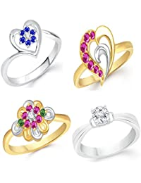 VK Jewels Gold And Rhodium Plated Alloy Ring Combo Set For Women & Girls- COMBO1404G [VKCOMBO1404G]