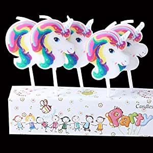 Partymane Unicorn Theme Candles Ideal for Birthdays | 5 Candles/Pack Birthday Cake Toppers