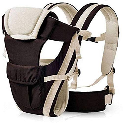 Cutieful Baby Products Adjustable Hands-Free 4-in-1 Baby Carrier Bag with Comfortable Head Support & Buckle Straps Baby Carry Bags (Black)
