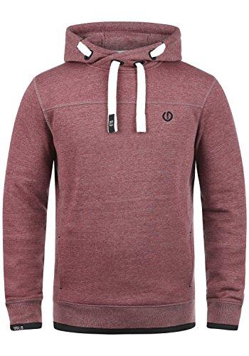 !Solid Benjamin Hood Herren Kapuzenpullover Hoodie Pullover Mit Kapuze Cross-Over-Kragen Und Fleece-Innenseite, Größe:M, Farbe:Wine Red Melange (8985) - Zip-n-griff