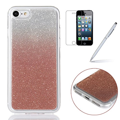 iPhone 7 Bling Coque,iPhone 7 Case,iPhone 7 Etui - Felfy Ultra Mince Silicone Gel TPU Housse Bling Shiny Sparkle Glitter étoile Placage Coque Housse de Protection Etui Anti Scratch Case Cover Case Bum Gradient Rose Or