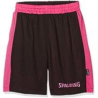 Spalding Essential Reversible Pantalones Cortos, Infantil, Multicolor (Negro/Rosa), 164