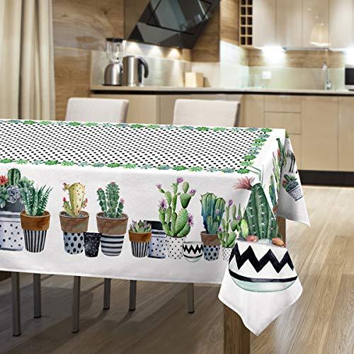 la biancheria di casa tovaglia federica stampata drill 100% cotone (150x250 cm, succulente)