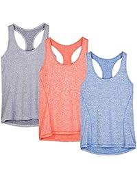 icyzone Débardeur Et Tops de Sport Gilet Femme T-Shirt sans Manches Yoga  Fitness Elastic 99fd12ebd8f