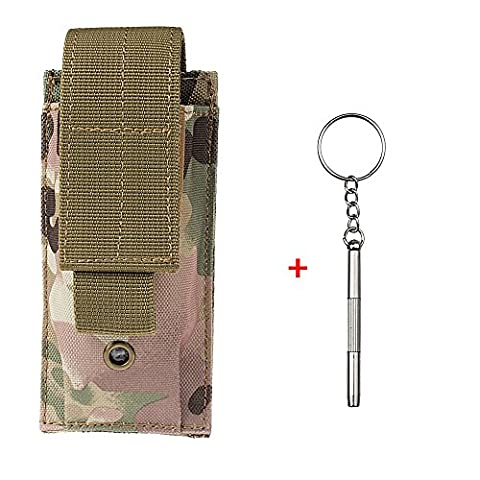 xhorizon TM XH8 1000D Nylon Army Camo Tactical MOLLE Mag Flashlight Holster Cartridge Clip Bullet Tool Knife Belt Pouch Sheath + Gift[ 3 in 1 Mini Stainless Screwdriver ]