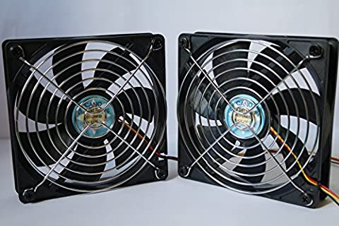 USB fan with 12cm grill Dual Ball Bearing Cooling fan for pc/ Computer Cases/ CPU Coolers/and Radiators/TV-BOX/120mm( 2-PACK)