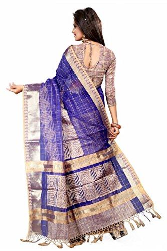 Asavari Royal Blue Organza Banarasi Saree with faux Jute Weaves