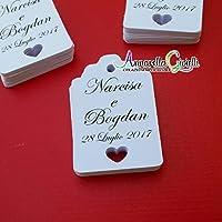 Cartellini tag cuore per bomboniera personalizzati, bomboniere, multicolor, etichette,matrimonio, battesimo, comunione, cresima, 30 pezzi