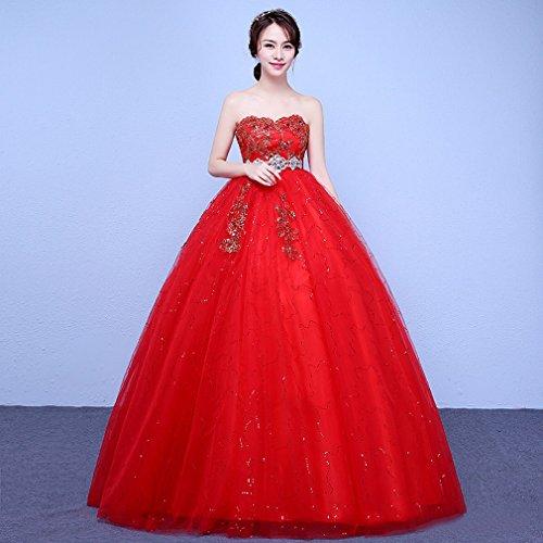 QP Modernes Brautkleid, hohe Taille, geeignet für Schwangere, Rot Small Zweites