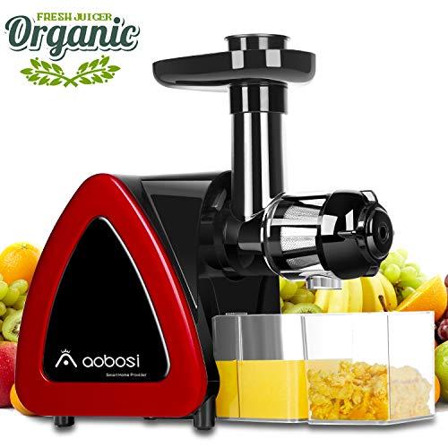 Licuadora Prensado en Frio,Aobosi Licuadora Frutas Verduras,Extractor de zumos con Función inversa,Motor Silencioso, fácil de limpiar con un cepillo extra … (rojo 1)