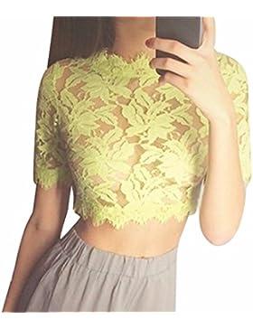 Atractivo de las mujeres hueco de la flor impresa tops de encaje blusa amarilla camiseta