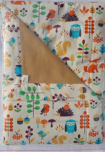 Bio Tagesdecke 140x70 cm fürs Kinderbett mit kuschelweicher Schmuseseite, Babydecke - Mit Tagesdecke