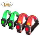 4 x Silicona LED Brazalete, Waitiee Brazalete LED brillante de Silicona Ejecución de Brazalete Ajustable De silicona con Luz de seguridad para deportes, correr, andar en bicicleta, correr (2 verdes + 2 rojos)