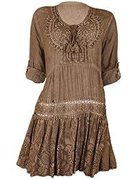 Fashion Moda Long Tunika Shirt Bluse Große Größen Spitzen Stickerei Krempelärmel