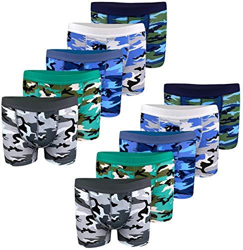 10 STÜCK Jungen Baumwolle Boxershorts Army Camouflage Unterhosen Unterwäsche Boys Kinder (158-164 (12-13 Jahre), Modell 1-10 STÜCK)