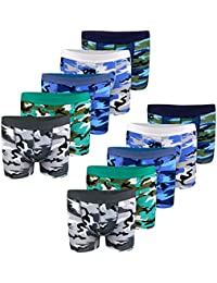 LOREZA ® 10 Calzoncillos bóxer para niño - Algodón - Motivo Camuflaje Militar - Disponibles en Tallas de 2 a 15 años - Pack de 10 Unidades