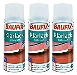 3 x 400ml Klarlack Klar Lack Farblos Baufix Sprühdose Hochglänzend oder seidenmatt (seidenmatt)