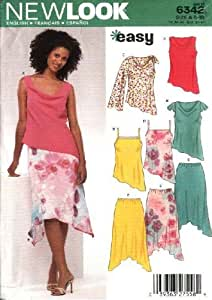 New Look Sewing Pattern 6342 Misses Size 6-16 Easy Asymmetrical Tops Skirts by New Look