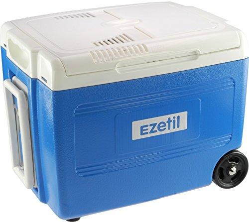 Ezetil 10776270 Elektrische Kühlbox E 40M 12/230V – 37 Liter mit Trolleyfunktion, Energieeffizienzklasse A++, Stahlblau, 37L