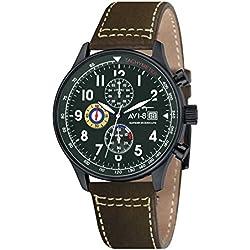 AVI-8 AV-4011-05 - Reloj cronógrafo de cuarzo para hombre con esfera verde y correa de cuero marrón
