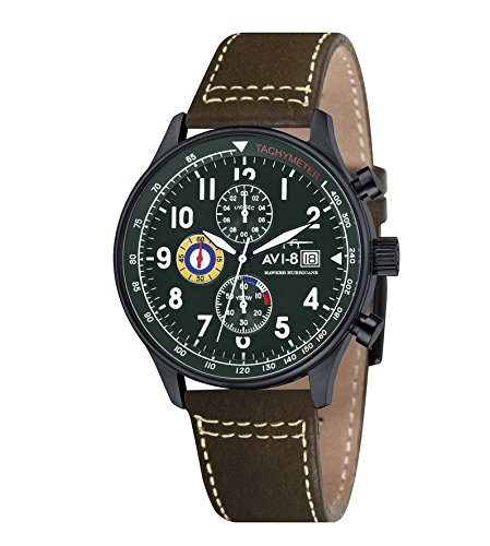 avi-8-mens-hawker-hurricane-quartz-watch-with-green-dial-chronograph-display-and-brown-leather-strap