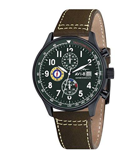 avi-8-av-4011-05-reloj-cronografo-de-cuarzo-para-hombre-con-esfera-verde-y-correa-de-cuero-marron