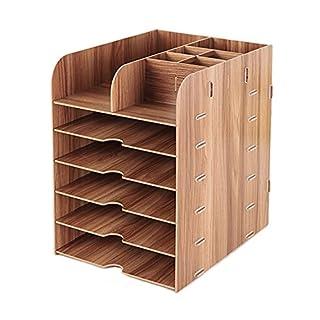 YLucky Boîte de rangement de stockage, à 6étages Portable bac d'empilage de Trieur de bureau Bibliothèque amovible Remplissage Meuble de rangement dossier (Naturel)