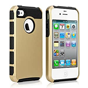 iPhone 4s Case, iPhone 4 case Samcore® 2 in 1 Shield Case for iPhone 4s 4 2-Piece Style hard PC outer shell with soft inner TPU Hard Cover (Gold/Black)