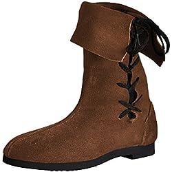 Botas altas con caña vuelta - calzado medieval - con acordonado lateral - piel auténtica - hechas en Alemania - números 36-45 - marrones - 40