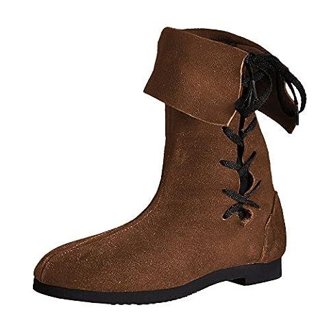 Chaussures Moyen-Âge - Botte à revers avec cordelette - Daim - Pour homme - Made in Germany - Marron - 48