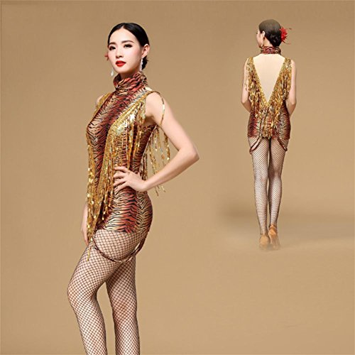 CO&CO Adult Latin Dance Dress Damen Tassel / Sequined / Leopard Performance Kostüme , 2 , (Kostüme Dance Coco)