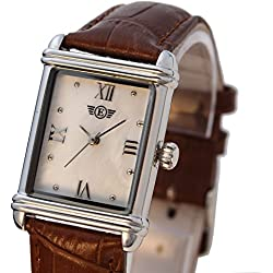 Ladies Dress Watch Rectangular Leather Strap PS