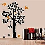 Vinyl Impression Schwarzer Baum Orange Vogelnest Wandkunst Vinyl Gedruckt Aufkleber Wanddekoration...