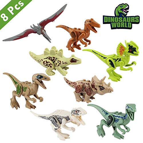 Lehoo Castle Kinder Dinosaurier Figuren Spielzeug, 8pcs Dino Bausteine Spiele,Dinosaurier World Tiere Spielzeug Perfekt für Kindergeburtstag Party Dekoration, Spielzeug für 3-6 Jahre Alten - Kinder Für Dinosaurier-spielzeug